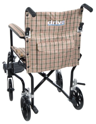 Drive Medical FW19DB Fly-Weight Transport Chair, 19 Inch, Tan Plaid by Drive Medical (Image #2)