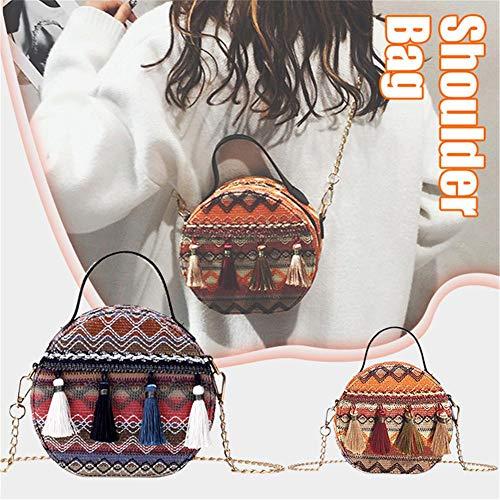 A Etnico Rotondo Folk Nappa Custom Borsa Orange Da Portatile Tracolla Arancione Con Donna Spiaggia Piccola Rotonda qXR8zxgw8