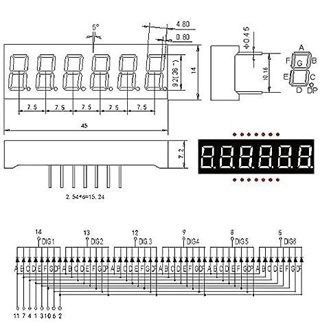 "2 Pcs 0.36inch 7 Segment 6 Digit Common Cathode 0.36/"" RED LED digital Display"
