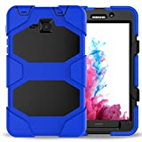 Samsung Galaxy Tab A 7.0 Case (SM-T280),3in1 Heavy Duty Shockproof Armour Hybrid High Impact Resistant Defensive Full Body Protective Cover with Built-in Screen Protector and Kickstand (Blue)