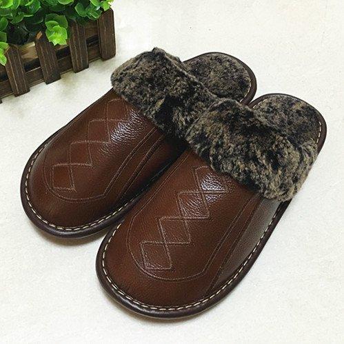 Pantofole fankou femmina maschio inverno anti-slittamento di spessore caldo cotone shoes home paio di pantofole di cotone ,35-36, di colore marrone scuro