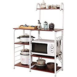 "DlandHome Microwave Cart Stand 35.4"", Kitchen Utility Storage 3-Tier+4-Tier for Baker's Rack & Spice Rack Organizer Workstation Shelf, 172-R Red, 1 Pack"
