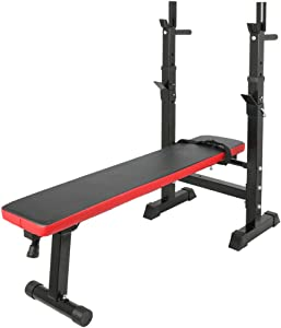 HOMIER Foldable/Adjustable Weight Bench with Barbell Rack, Squat/Push-ups/Home Gym