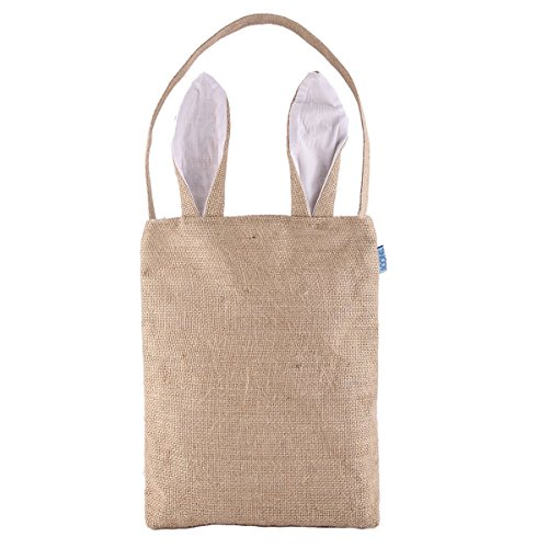 AOQING Easter Bunny Bags Dual Layer Lovely Bunny Ears Design Burlap Cloth Material Easter Gift Bag - Funny DIY Gift Bag for Your Baby ( Jute / White)