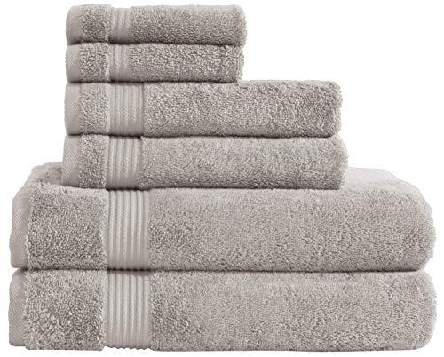 Super Absorbent and Soft, 100% Genuine Cotton, 6 Piece Turkish Towel Set for Kitchen and Decorative Bathroom Sets Includes 2 Bath Towels 2 Hand Towels 2 Washcloths, Vanilla Beige ()