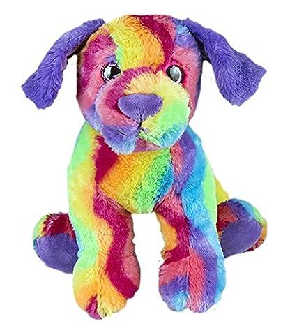 Cuddly Soft 16 inch Stuffed Rainbow Stripe Dog...We stuff 'em...you love 'em! - Blue Puppy Plush