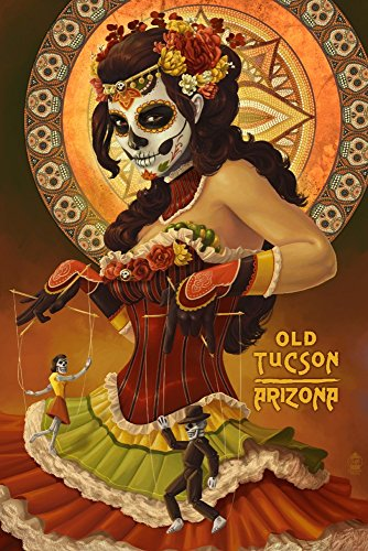 Tucson, Arizona - Day of The Dead - Woman Holding Marionettes (9x12 Art Print, Wall Decor Travel Poster)