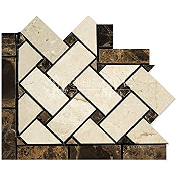 Crema Marfil Spanish Marble Basketweave Border Corner Tile with Emperador Dark Marble Dots, Polished