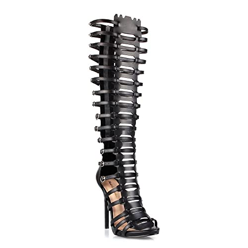 ccbc95cb2312 Oscar 13 Womens Knee High Strappy Caged Cut Out Open Toe Dress Sandals Black  6