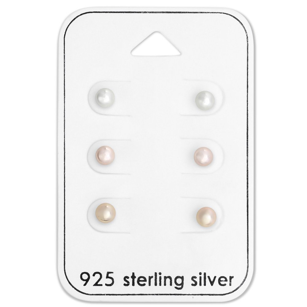 925 Sterling Silver (SET OF 3) Assorted Synthetic Glass Pearl Earrings 28493