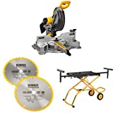 DEWALT DWS709 Slide Compound Miter Saw, 12-Inch w/ DW3128P5 80 Tooth and 32T ATB Thin Kerf 12-inch Crosscutting Miter Saw Blade, 2 Pack & DWX726 Rolling Miter Saw Stand