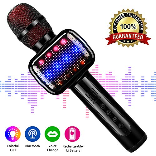 Karaoke Microphone, Microphone Wireless Kids Microphones with Bluetooth Speaker Portable Handheld Toy Karaoke Machine Music Sing Mic for Girl Boy Child Home Party KTV Outdoor ()