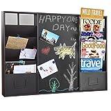 34-Inch Wall-Mounted Brown Metal Memo Message Chalkboard / 10 Slot Document Organizer & Mail Sorter Rack