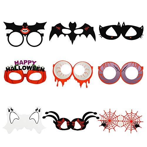 LANMOK 9 Paar Halloween Papier Partybrillen Set, Lustige Brillen Kürbis Geist Spinne Charmante Dekoration für Kinder Erwachsene Halloween Party Requisiten Cosplay Kostüm Photobooth