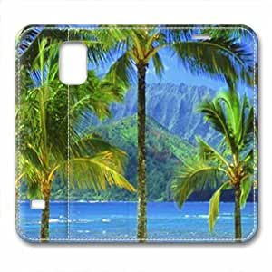 New Design and Good Quality Case,PU Leather Magnet Shell Stand Case Cover for Samsung Galaxy S5 with Coconut Tree