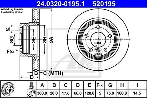 Set of 2 ATE 24.0320-0195.1 Brake Disc Rotors
