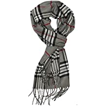 MINAKOLIFE Classic Cashmere Feel Winter Scarf in Rich Plaids Grey