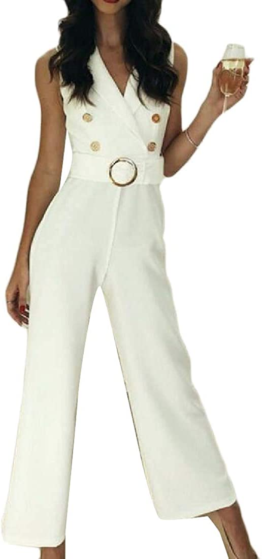 Fubotevic Women Slim Fit Sleeveless Belted Double Breasted Straight Leg Jumpsuit Romper