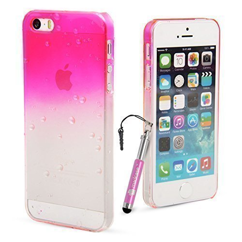 Madcase Apple iPhone 5/5s Ultra fine Motif gouttes d'eau 3d Motif Fittted Hardcase cover + Protection d'écran et stylet Rose