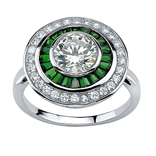 - Round White Cubic Zirconia and Emerald Platinum over .925 Silver Vintage-Style Halo Ring Size 8