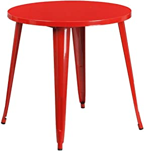 """Flash Furniture Commercial Grade 30"""" Round Red Metal Indoor-Outdoor Table"""
