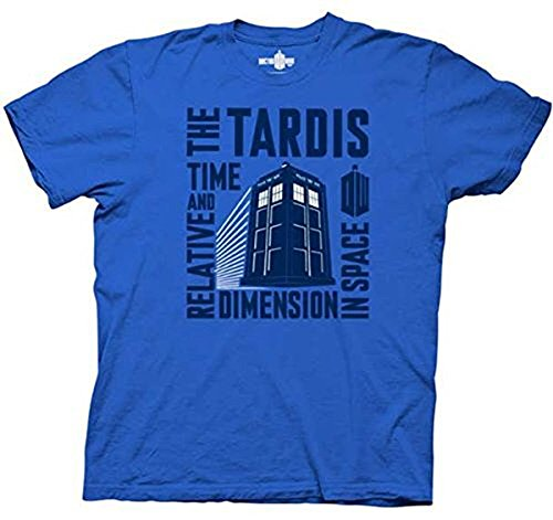 Doctor Who Tardis Time & Relative Dimension in Space Royal Blue T-shirt (Adult XX-Large) (Time And Relative Dimension In Space T Shirt)