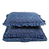 Bedsure Kids Quilt Set Coverlet Full/QueenSize (90''x96'') 3-Piece Bedspread Coverlet Set Navy Blue Flowers