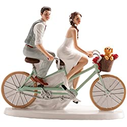 Wedding Cake Topper Couple on Bicycle 6x7''