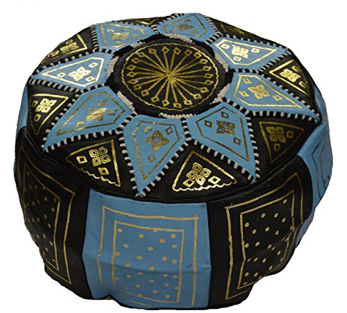 Moroccan Poofs Hand Made 100%Leather Ottoman Comfortable Round Design Foot Stool Light Blue Black