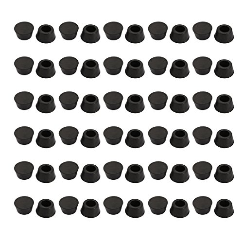 uxcell 60pcs Desk Chair Round Rubber Leg Cap Floor Protector 15mm Inner Diameter Black by uxcell