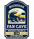 NCAA University of Michigan 93490010 Wood Sign, 11'' x 17'', Black