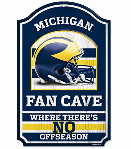 NCAA University of Michigan 93490010 Wood Sign, 11'' x 17'', Black by WinCraft