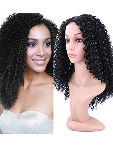 Long Curly Wigs for Black Women 20 Inch Afro Curly Wig High Density Natural Black Color Side Part Heat Resistant Synthetic Full Wigs with Free Wig Cap by Fani