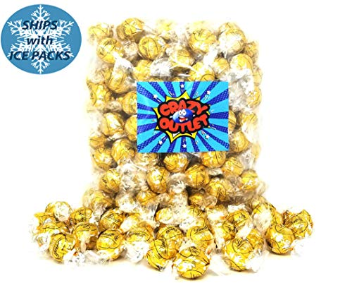 CrazyOutlet Pack - Lindt Lindor White Chocolate Truffle Candy, Gold Foil, Wedding Day Candy, Bulk Pack, 2 Lbs