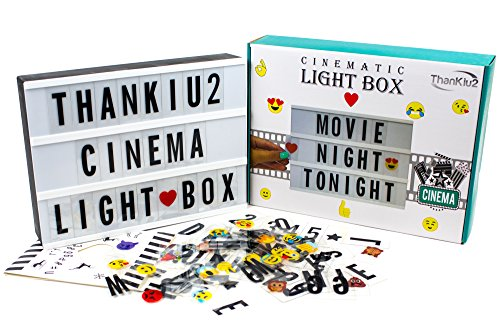 ThanKiu2 Giftshop Cinema Light Box Letters - Vintage Cinematic Light Up Message Note Sign - Personalized A4 White LED Lightbox Extra Long Durable USB Cable