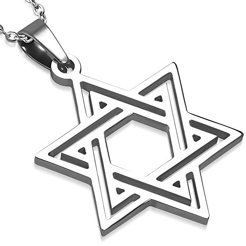 21.5 Inch Pendant - My Daily Styles Stainless Steel Silver-Tone Classic Jewish Star of David Pendant Necklace, 21.5