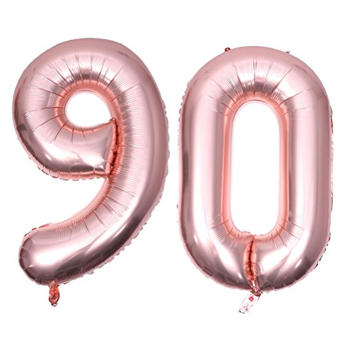 BESTOYARD 90 Number Balloon 90th Anniversary Birthday Party Balloon Birthday Anniversary Jumbo Foil Balloons Party Supplies Photo Props 40 Inch