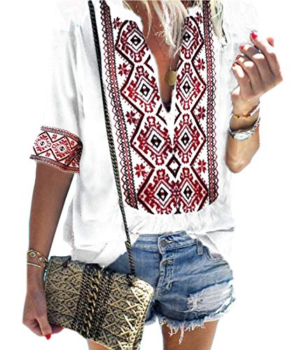 (Women's Casual Bohemian Embroidered T-Shirt Short Sleeve Loose Blouse Tops (L, 01-White))