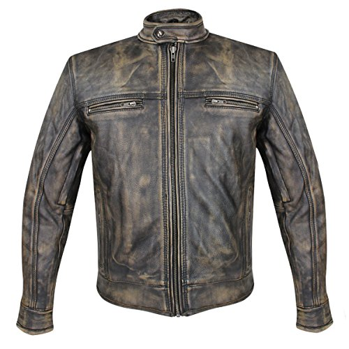 s Venture Armored Leather Motorcycle Jacket with Gun Pocket - Large ()