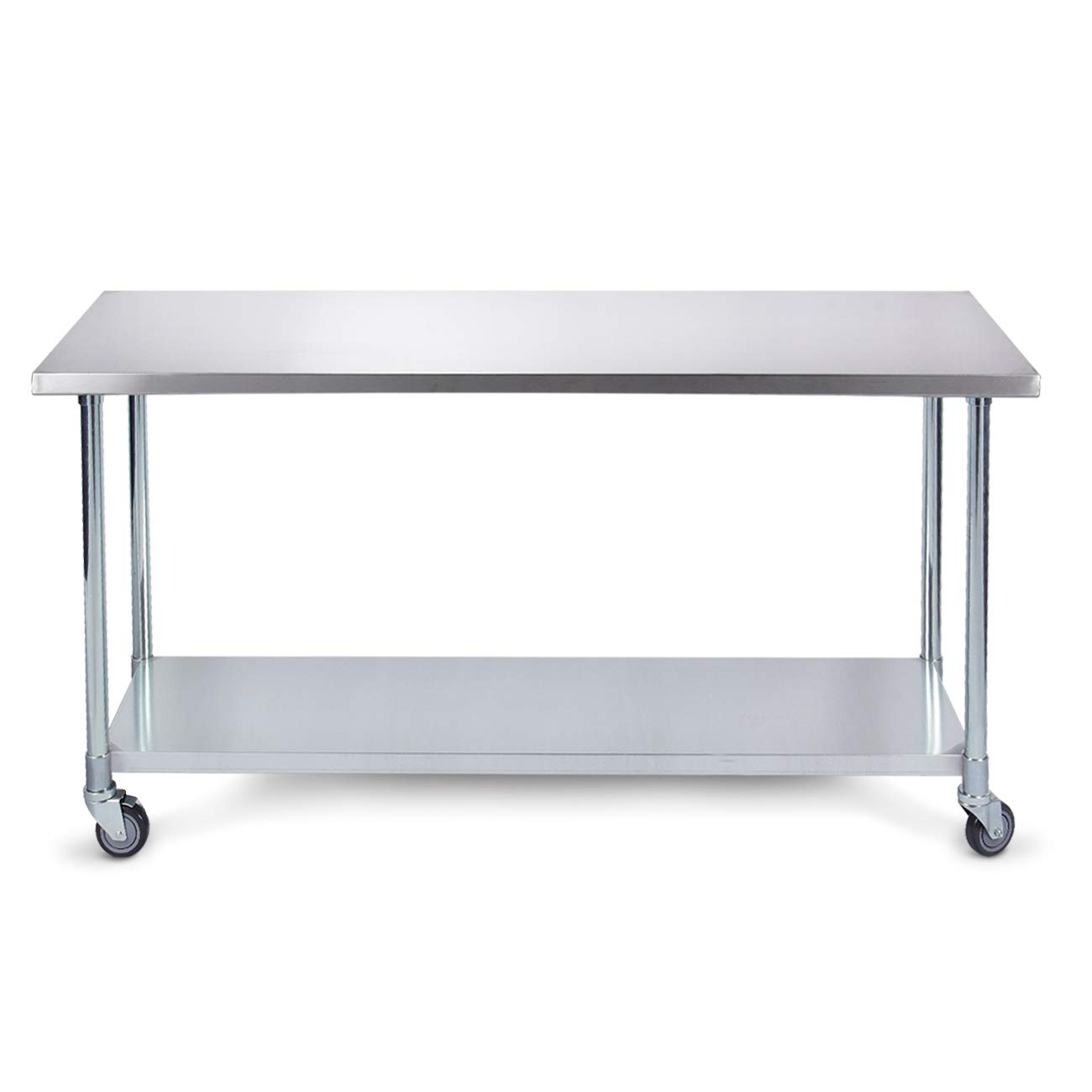 ARKSEN 36'' x 24'' Heavy Duty Work NSF Utility Prep Stainless Steel Table w/Wheels and Undershelf