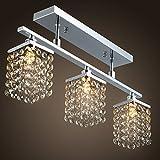 LightInTheBox 3 Light Hanging Crystal Linear Chandelier, Flush Mount with Solid Metal Fixture