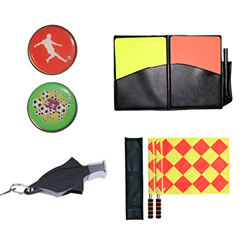 (Firelong Football Soccer Referee Flags Whistle Coin and Cards - 4 in 1 Set)