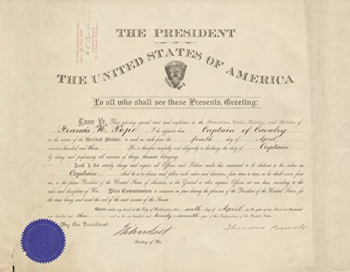 - President Theodore Roosevelt - Military Appointment Signed 04/06/1903 co-signed By: Elihu Root