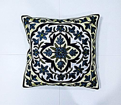 ZARMIN BEDDING ESSENTIALS Pillow Cover Elite Limited Collection of Kashmiri Hand Crafted Square Decorative 16 x 16 inch Cushion Covers for Indoor use on Bed or Sofa (ART-24 RAKAPOSHI). Set of Two.