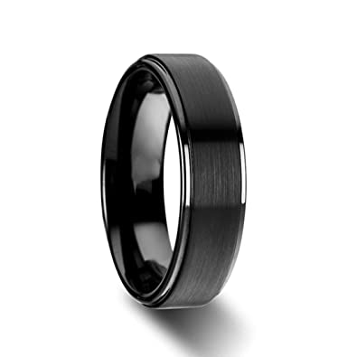 tigrade mens black 6mm titanium wedding rings matte finish center polish edge - Titanium Wedding Rings For Men