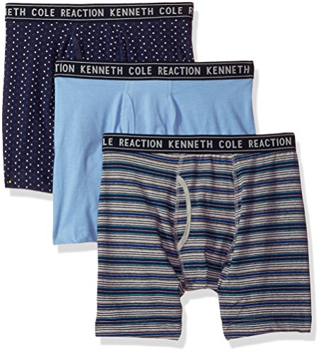 Kenneth Cole REACTION Men's Cotton Stretch Boxer Brief Underwear, Multipack, Mystic Mini Dots, Hudson Blue Herald Square Stripe - 2 Pack X-Large