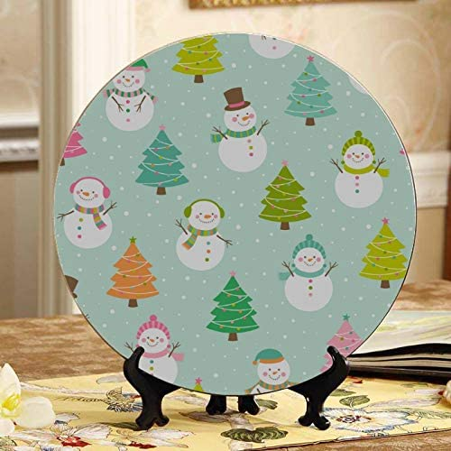 Amazon Com Gjianbing Cute Snowman And Christmas Tree Decorative Plates With Stand Ceramic Dish Plate Home Wobble Plate With Display Stand Decoration Household Ceramic Plates Decor Home Kitchen