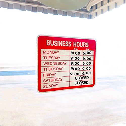 Static Cling Business Hours Open & Closed Window or Door Sign with Time Sheet Stickers