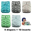 Nooya Baby Washable and Reusable Diapers Cloth (5 Cloth Diaper Covers + 10 Inserts) - Adjustable Snap One Size Cloth Pocket Diapers, Neutral Color 1