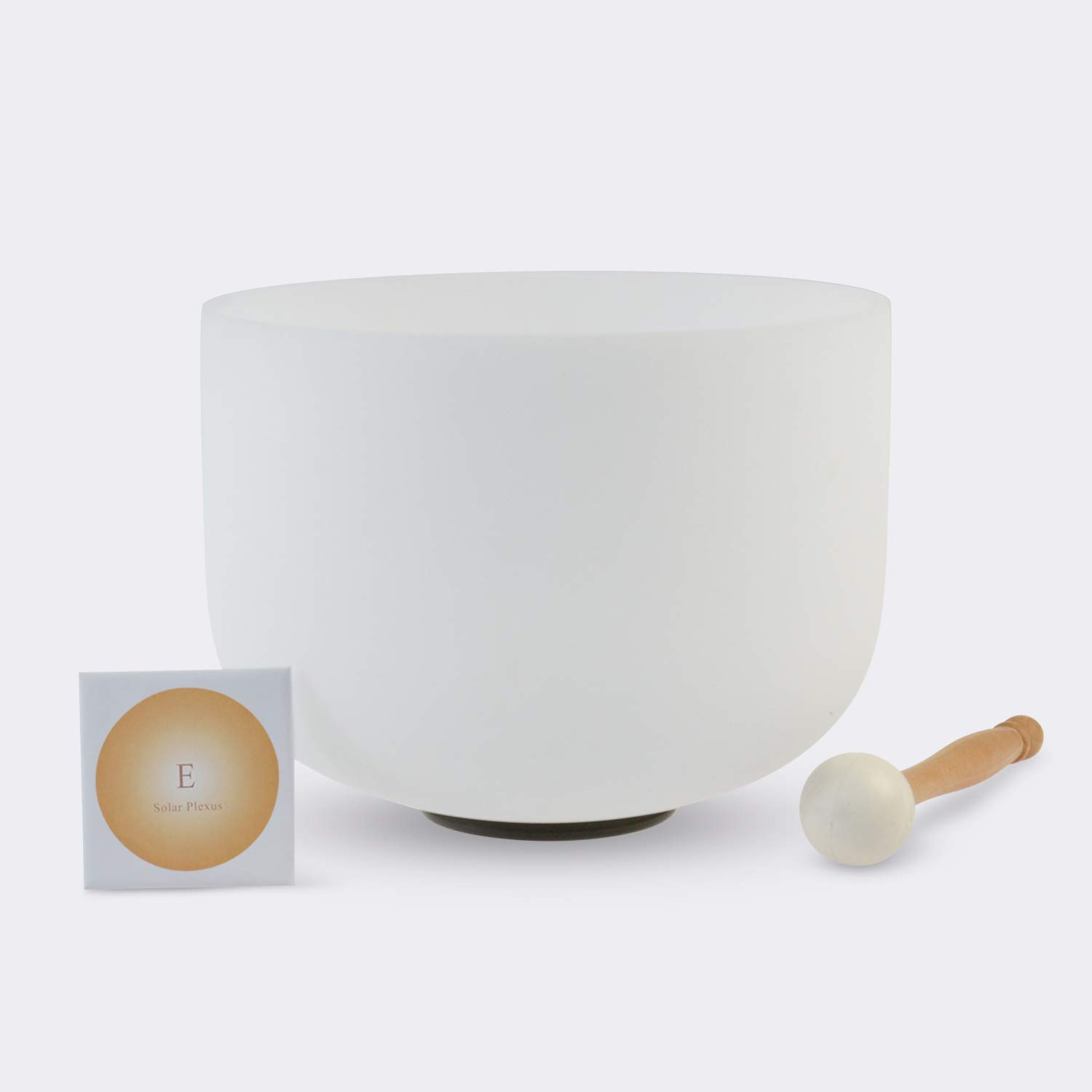 TOPFUND Singing Bowls 432Hz E Note Crystal Singing Bowl Solar Plexus Chakra 10 inch (O ring and Rubber Mallet Included)